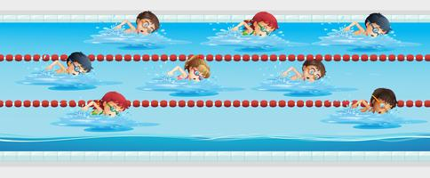 Children swimming in the swimming pool vector