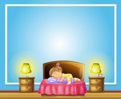 Plantilla de frontera con niña durmiendo en la cama vector