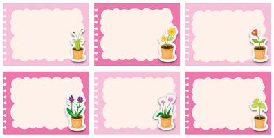Pink labels with flower pots
