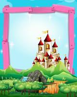 Plantilla de frontera con castillo en el bosque