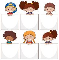 Happy kids and white papers vector