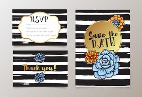 weddings, save the date invitation, RSVP and thank you vector