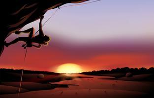 Een zonsonderganglandschap bij de woestijn