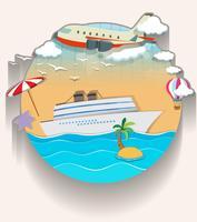 Tema de viaje con crucero y avión.