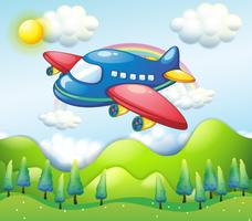 Ein buntes Flugzeug über den Hügeln