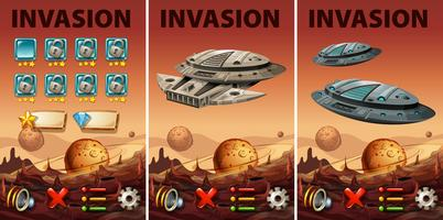 Game template with space invasion theme