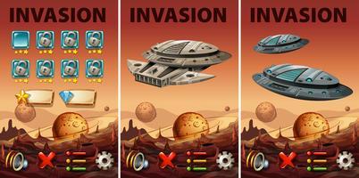 Modello di gioco con tema di invasione dello spazio