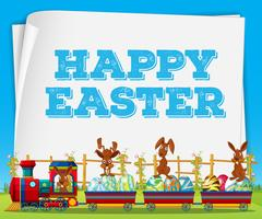 Happy Easter poster with rabbits on train