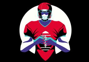 Heroic American Football Player Vector Flat Illustration