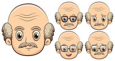 Oude man met vijf verschillende emoties