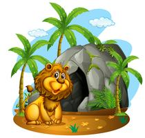 Lion sits in front of cave
