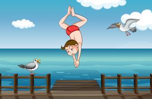 Ein springender Junge