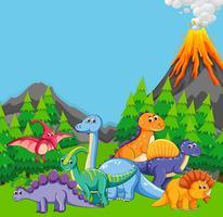 Dinosaurio plano en la naturaleza.