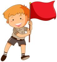 Boy holding red flag