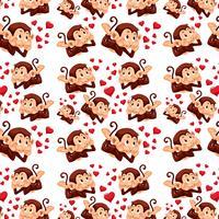 Cute monkey on seamless pattern