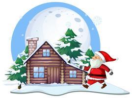 Santa in front of cabin house