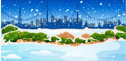 Background scene with snow in city