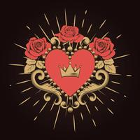 Beautiful ornamental red heart with crown and roses on black background. Vector illustration