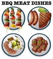 Different bbq meat on the plates