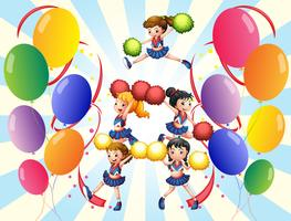 A cheering squad in the middle of the balloons