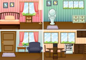 Four scenes of rooms in the house