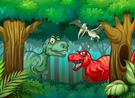 Dinosaure dans la forêt