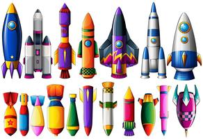 Different kind of rocket ships and bombs