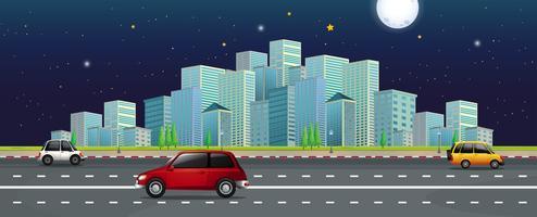 Langs de weg met moderne stadsgezicht weergave
