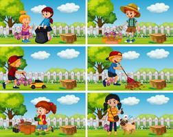 Bra barn gör hushållsarbete i trädgården