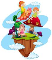 Three fairies and mushroom house