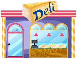 A deli shop on white background vector