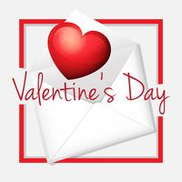 Valentine card template with heart in envelope