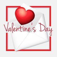 Modelo de cartão de dia dos namorados com coração no envelope