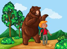 Hiker and grizzly bear in the park vector