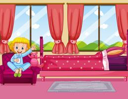 Ragazza in camera da letto rosa