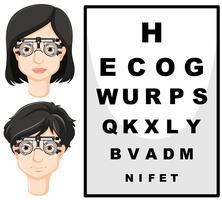 Homme et femme avec des lunettes de test