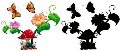 Farfalle e funghi in giardino
