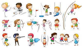 Niños participando en diferentes deportes.