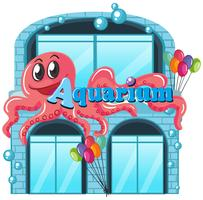 An aquarium on white background vector