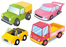 Four colorful vehicles