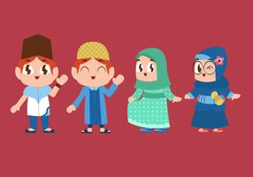 Cute Muslim Children Playing Vector Illustration