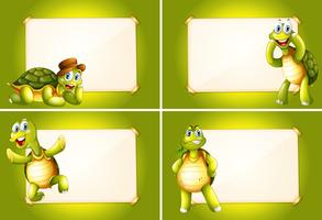 Four frames with green turtles