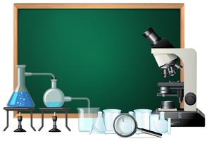 Blackboard science equipments template vector