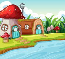 Champignon et maison en bois