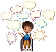 Garotinho na cadeira de rodas com bolhas do discurso em branco