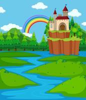 Achtergrondscène met kasteeltorens en rivier