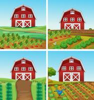 Granja rural y paisaje de granero