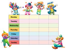 Table of seven days of the week with happy clowns