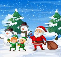 Joyeux Père Noël et Elf Ourdoor fond