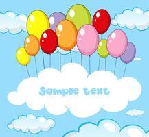 Textplatz mit Ballonen im Himmel